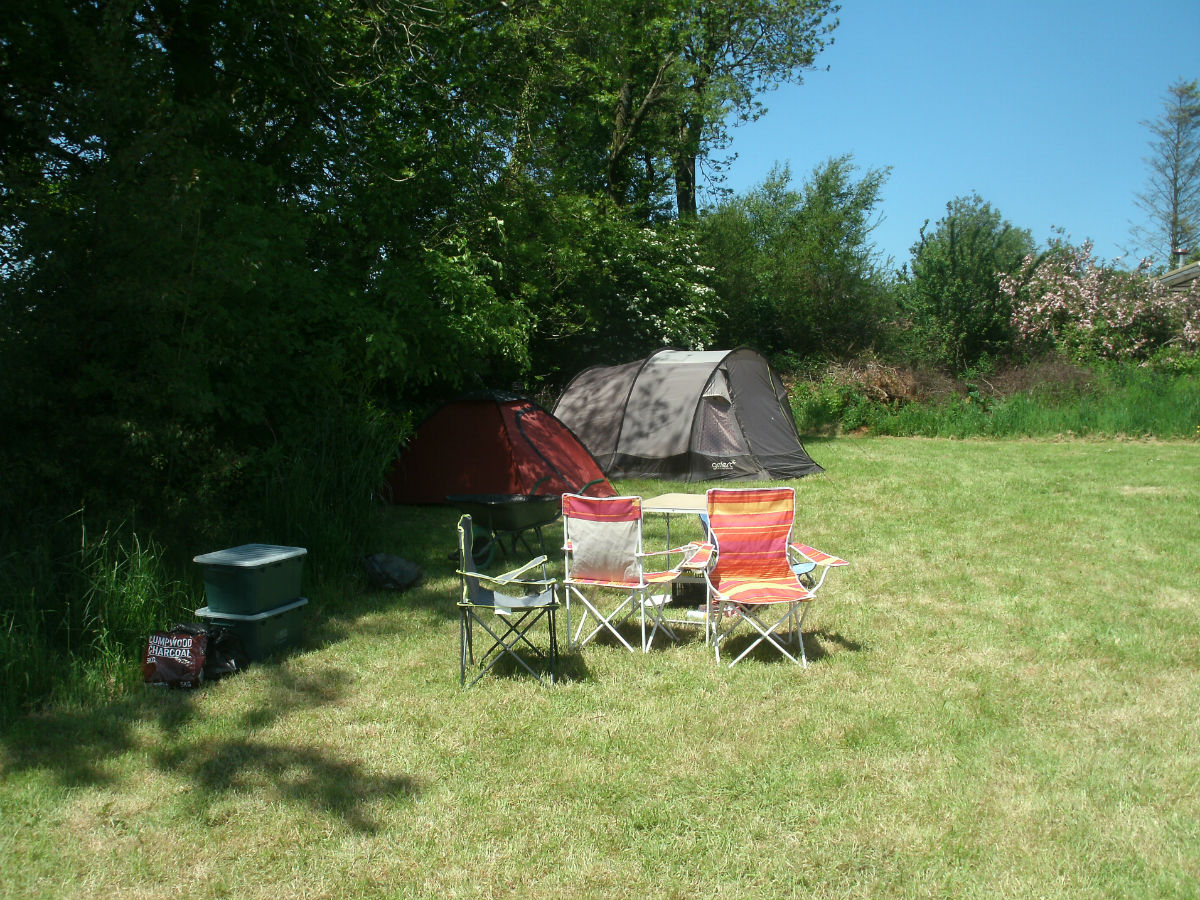 A visitor all set up - Northlodge eco-camping