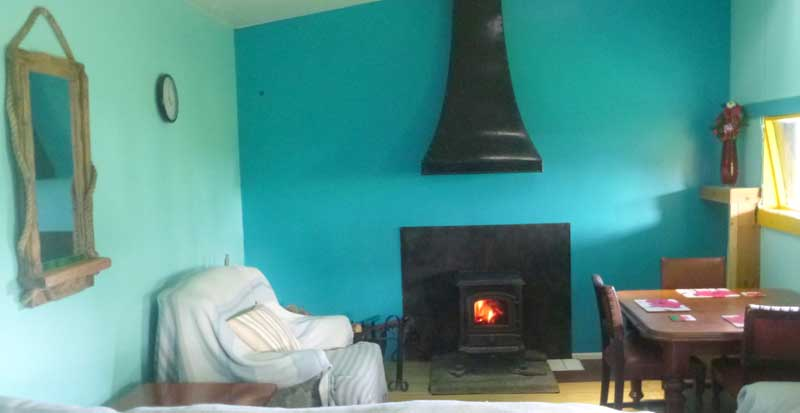 Preseli cabin fireplace - Northlodge eco-camping